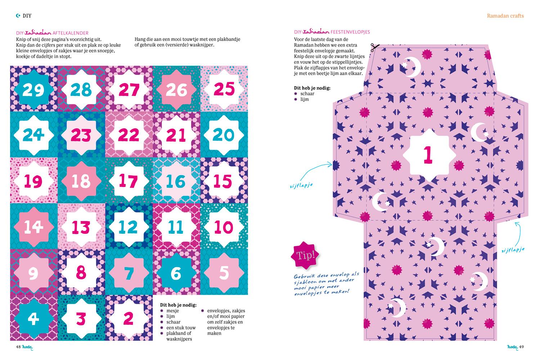 hoda magazine 2018 | binnenwerk DIY-pagina Ramadan special, aftelkalender en feestenvelopjes om zelf te maken